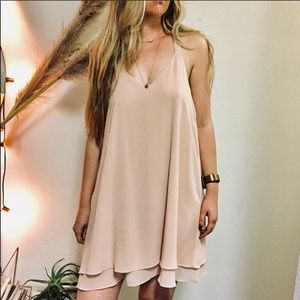 FOREVER 21 Blush Nude Beaded Racerback Tier Dress